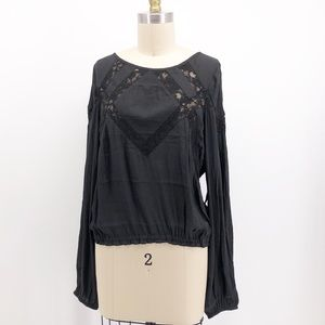 FREE PEOPLE Geometry Lessons Lace Boho Blouse Top